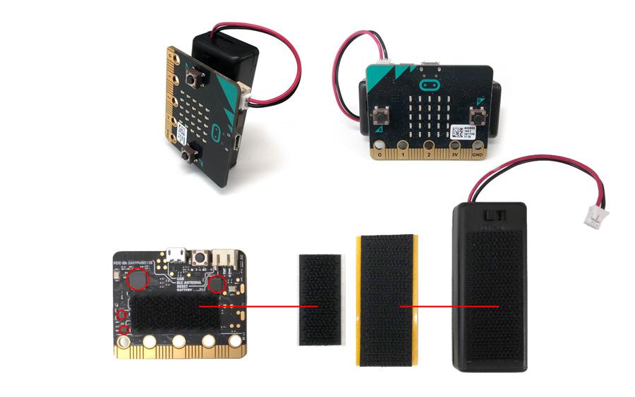 micro:bit用スイッチ付き電池ボックス(合体用マジックテープ付き)