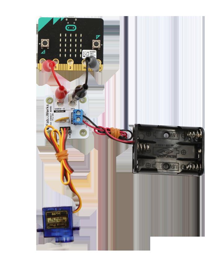 Aボタンを押すとサーボモーターが180度回転、Bボタンを押すと戻るProgram that servo turns around 180 degrees by pushing A button.